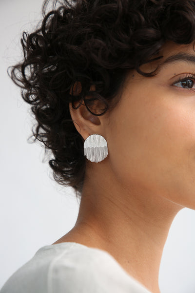 Hannah Keefe Half Circle Studs in Silver on model view