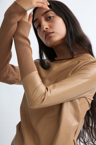 Rito Eco Leather High Neck Top in Camel sleeve view