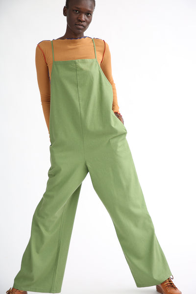 Baserange Yumi Jumpsuit in Sun Moss Green on model view front