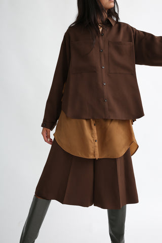 Rito Matte Satin Short Shirt in Brown front view