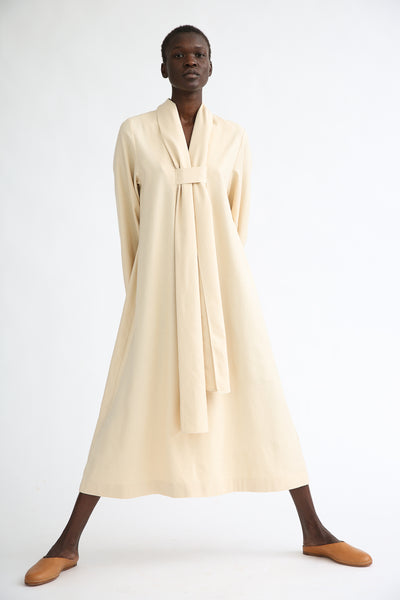 Baserange Dour Dress in Tampa Tan on model view front
