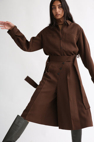 Rito Matte Satin Culotte in Brown on model view front