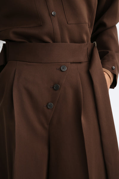 Rito Matte Satin Culotte in Brown button fly detail