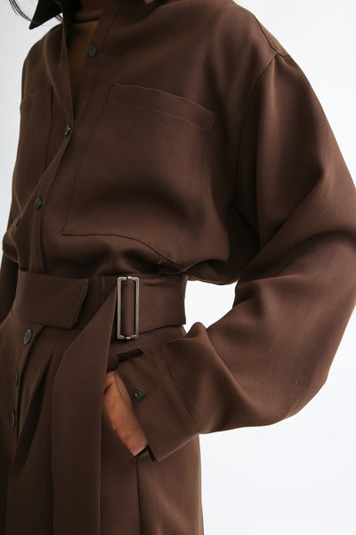 Rito Matte Satin Culotte in Brown side buckle detail