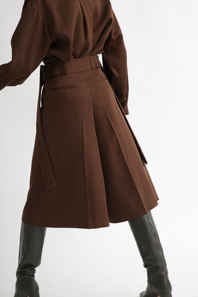 Rito Matte Satin Culotte in Brown back view