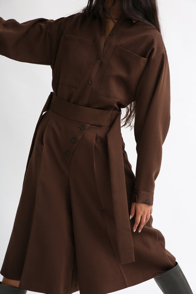 Rito Matte Satin Culotte in Brown front view