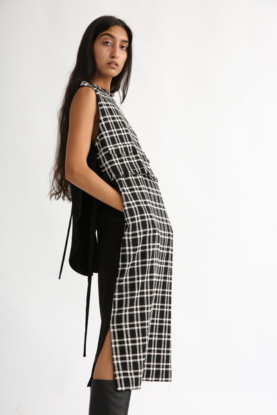 Rito Wool Check Tweed Dress in Black and White side view