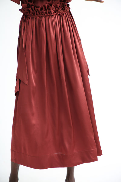 Baserange Lazo Skirt in Auger Red front