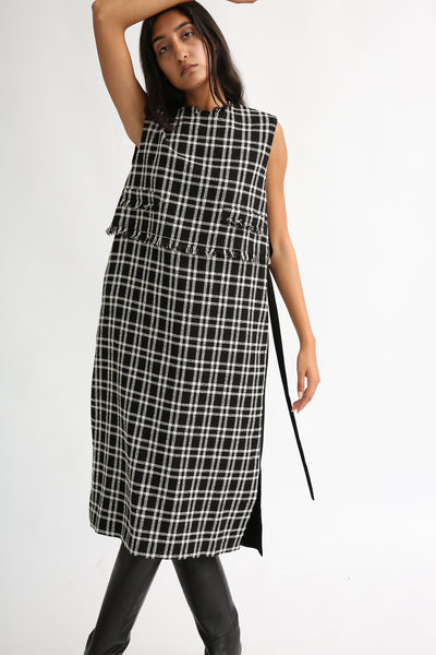Rito Wool Check Tweed Dress in Black and White on model view front