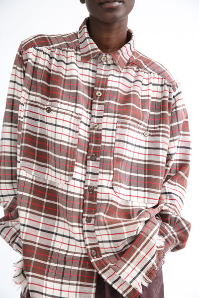 Dr. Collectors Picasso Japanese Plaid Top in Brown chest pocket