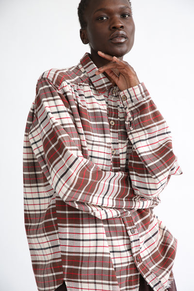 Dr. Collectors Picasso Japanese Plaid Top in Brown sleeve detail