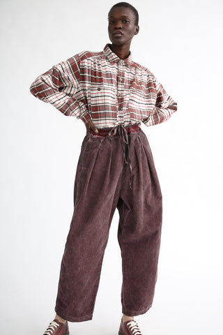 Dr. Collectors P43 Kyoto Corduroy Pant in Oil Grape on model view front