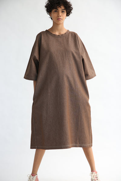 Sofie D'Hoore Dee Dress - Light Denim in Brown on model view