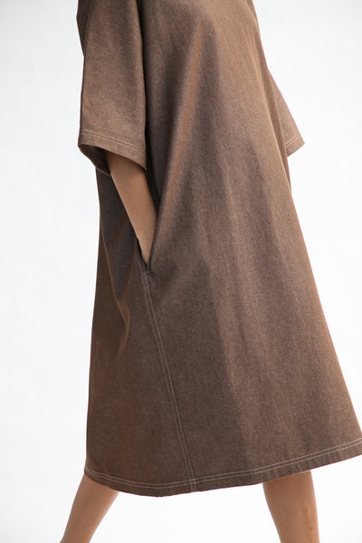 Sofie D'Hoore Dee Dress - Light Denim in Brown pocket side view