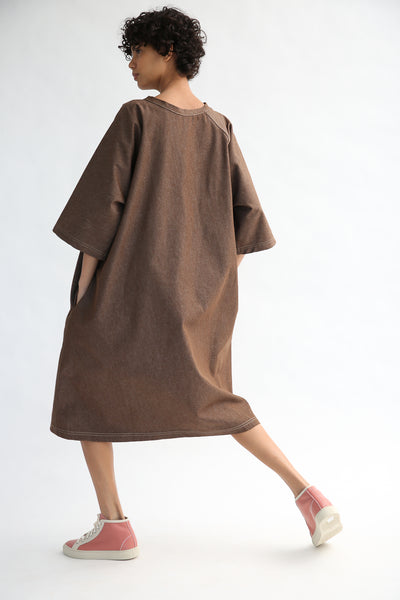 Sofie D'Hoore Dee Dress - Light Denim in Brown on model view back
