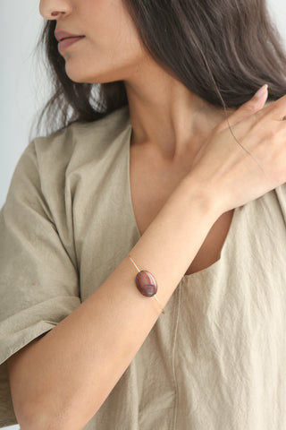 Mary MacGill Stone Cuff in Red Agate on model view