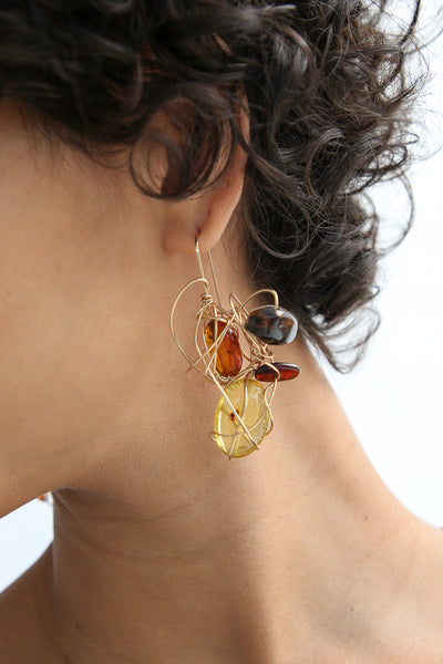 Mary MacGill Woven Palatte Earrings in Amber on model view