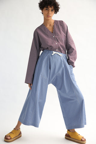 Sofie D'Hoore Pic-Nic Pant - Double Twisted Cotton in Blue front