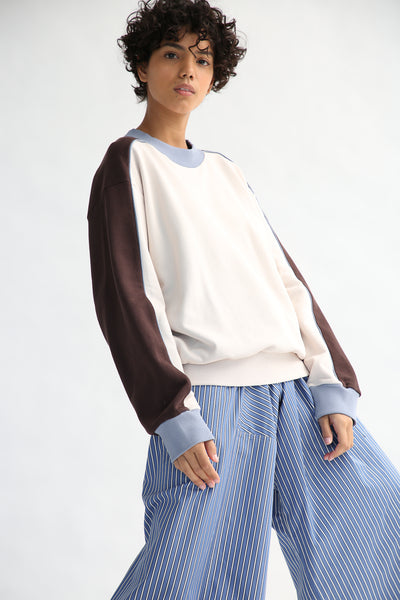 Sofie D'Hoore Tap Top - Cotton Fleece in Cloudy Blue/Cacao side