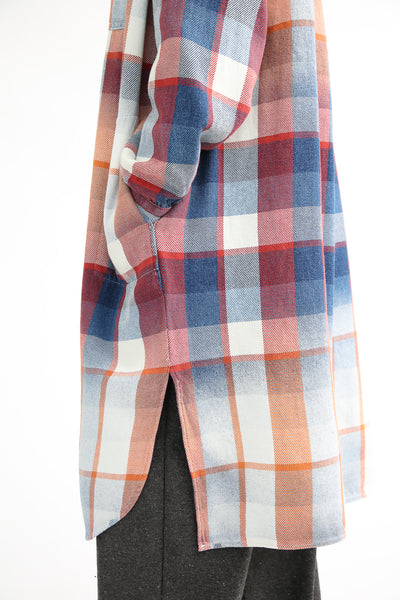 Dr. Collectors Gala Dress - Plaid Cotton in Indigo hem detail