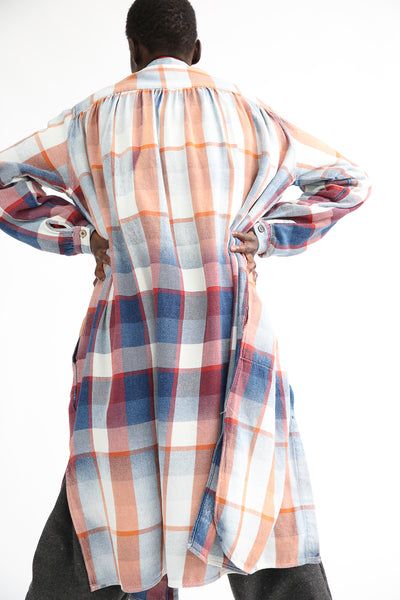 Dr. Collectors Gala Dress - Plaid Cotton in Indigo back