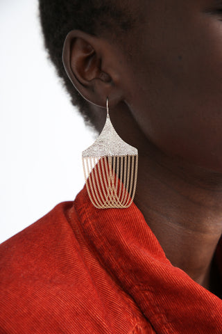 Hannah Keefe Chandelier Earrings in Brass/Silver