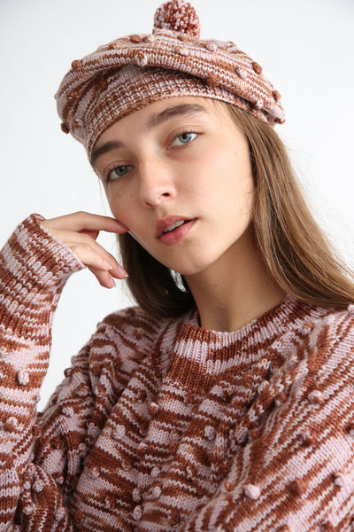 Misha and Puff Adult Popcorn Beret in Chestnut Space Dye on model view front