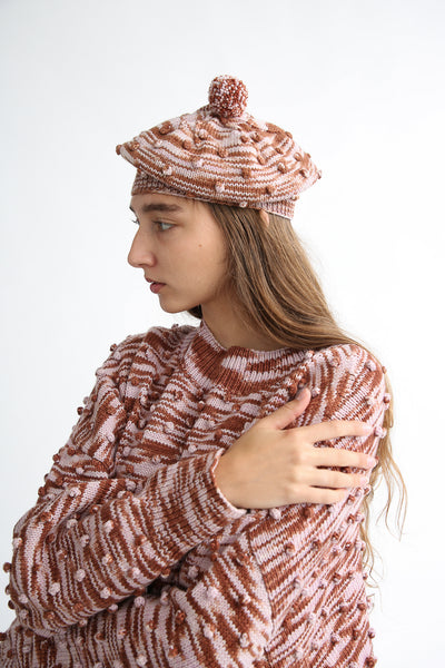 Misha and Puff Adult Popcorn Beret in Chestnut Space Dye on model view side