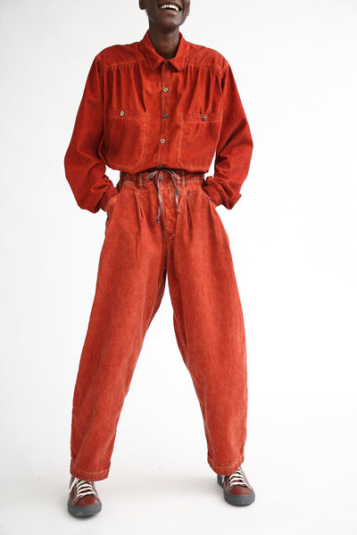 Dr. Collectors P40 Z-Boys Corduroy Pant in Oil Rust on model view front