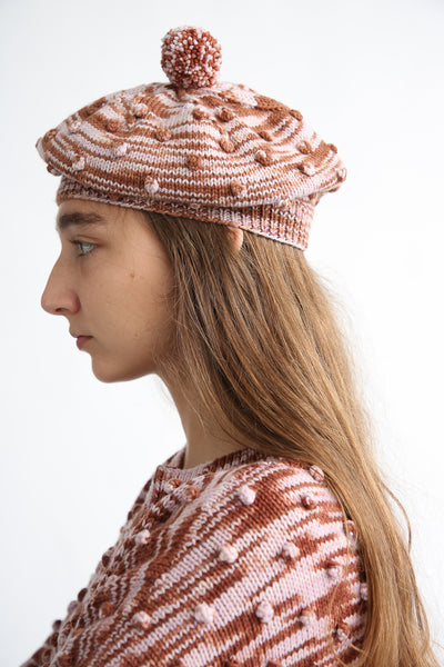 Misha and Puff Adult Popcorn Beret in Chestnut Space Dye side view