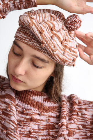 Misha and Puff Adult Popcorn Beret in Chestnut Space Dye front view