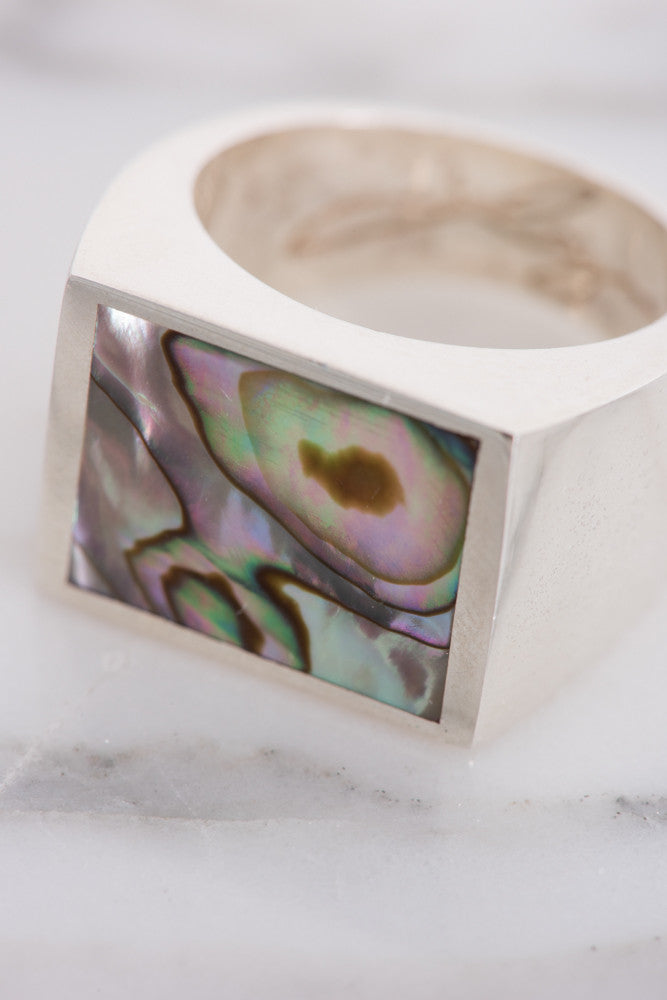 Legier Silver Abalone Signet Ring | Oroboro Store | Brooklyn, New York