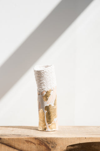 Karen Tinney White and Gold Vessel #203 | Oroboro Store | Brooklyn, New Yorl
