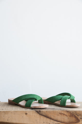 A Detacher Pipit Slide in Green Suede | Oroboro Store | Brooklyn, New York