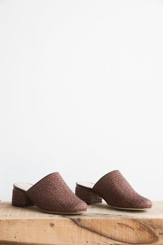 Samuji Dark Brown Basket Weaved Slip-on Mules | Oroboro Store | Brooklyn, New York