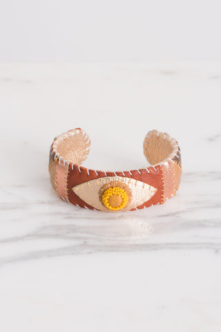 Robin Mollicone Eye Cuff in Yellow Ambronite Multi | Oroboro Store | Brooklyn, New York
