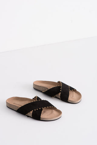 Ulla Johnson Babette Handloom Slide in Noir Suede | Oroboro Store | Brooklyn, New York