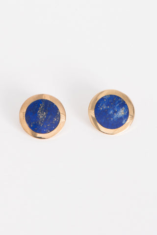 Pamela Love Crater Earrings in Brass w/ Lapis | Oroboro Store | Brooklyn, New York