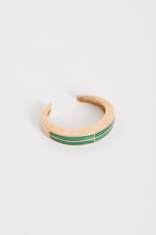 Pamela Love Inlay Cross Cuff in Brass w/ Malachite | Oroboro Store | Brooklyn, New York
