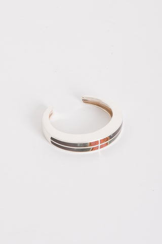 Pamela Love Inlay Cross Cuff in Sterling Silver w/ Savannah Jasper | Oroboro Store | Brooklyn, New York