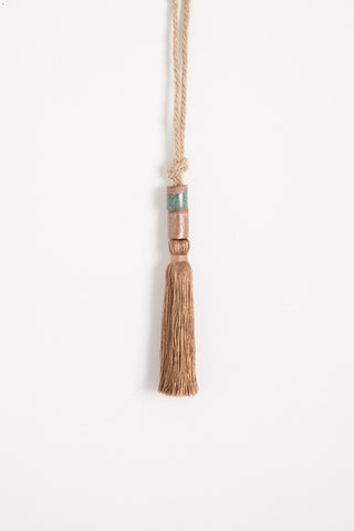 All Roads Tassel with Two Ceramic Beads in Brown | Oroboro Store | Brooklyn, New York