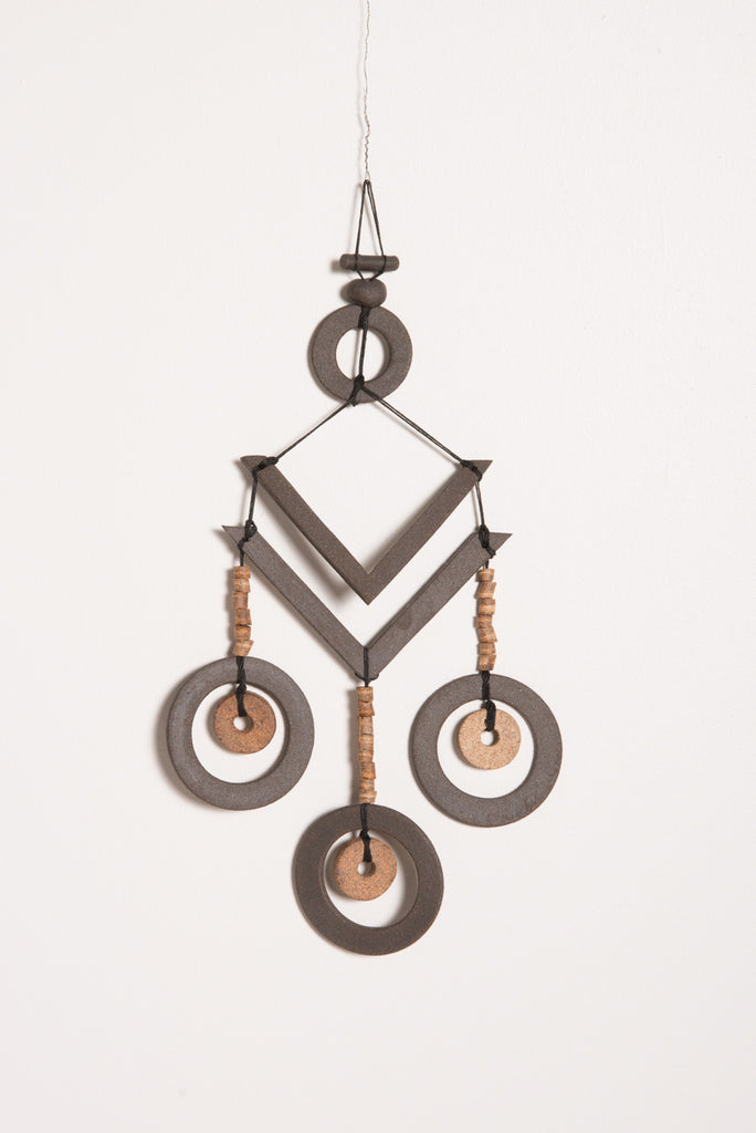 Heather Levine Two Brown Ceramic V's with Three Brown Circles | Oroboro Store | New York, NY