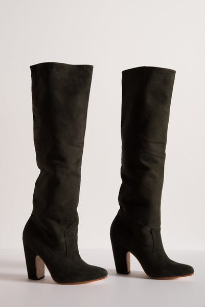 Ulla Johnson Sloane Boot in Army Suede | Oroboro Store | New York, NY