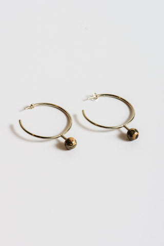 Quarry Farias Hoop Earrings in White Bronze & Leopard Skin Jasper | Oroboro Store | New York, NY