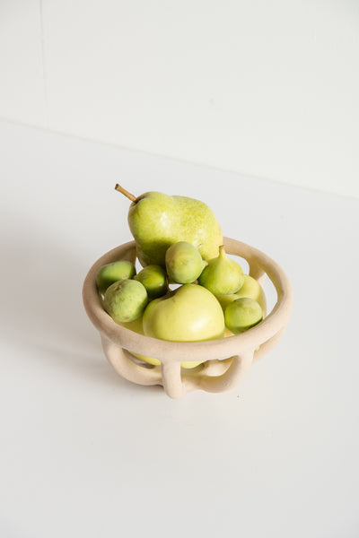 Small Prong Fruit Bowl in Speckled Stoneware