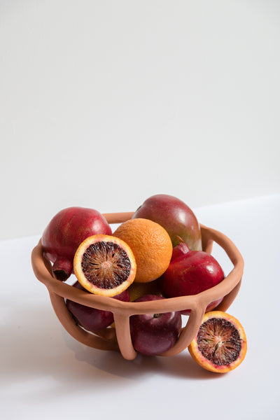 Medium Prong Fruit Bowl in Terracotta