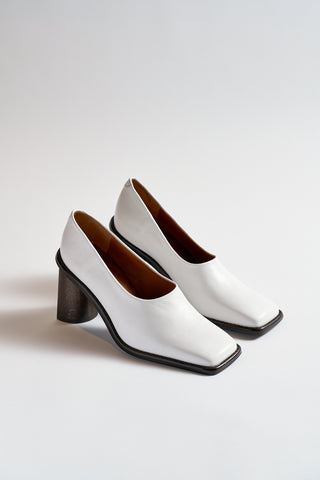 Rejina Pyo Dani Crescent Heel in White/Dark Wood | Oroboro Store | New York, NY
