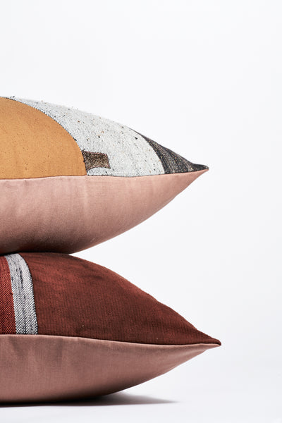 Jess Feury Patchwork Pillow  in Rust/Black & White Center | Oroboro Store | New York, NY