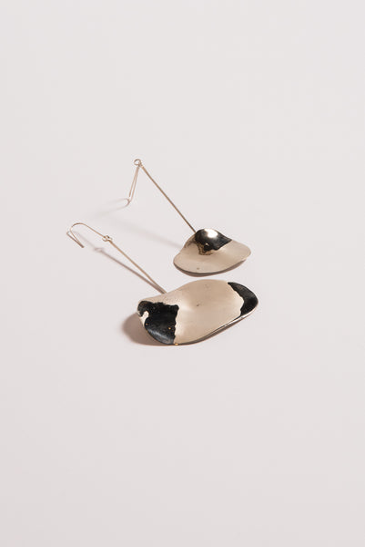 Samma Large Double Shape Earrings in White Bronze/Silver Post | Oroboro Store | New York, NY