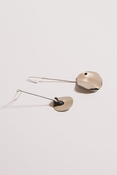 Large Double Shape Earrings in White Bronze/Silver Post